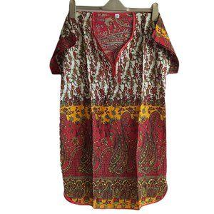 US 14 summer peasant tunic size L paisley boho